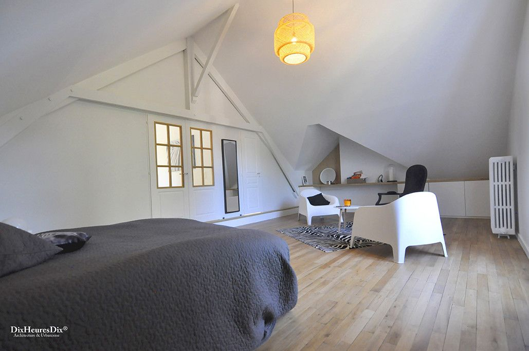 Chambre parentale avec une alcôve, deux espaces, résidence secondaire