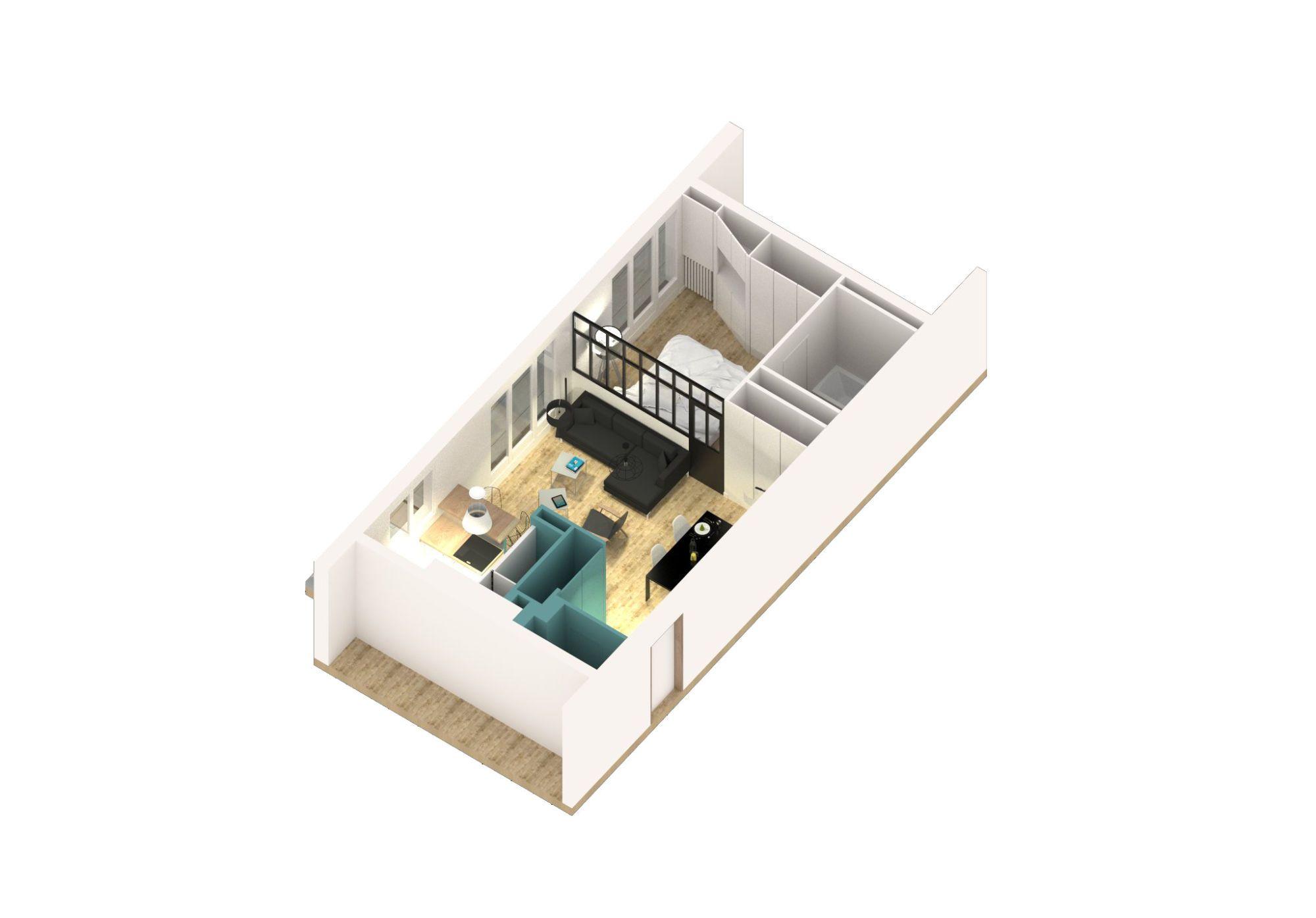 Maquette de l'aménagement tournée vers la chambre