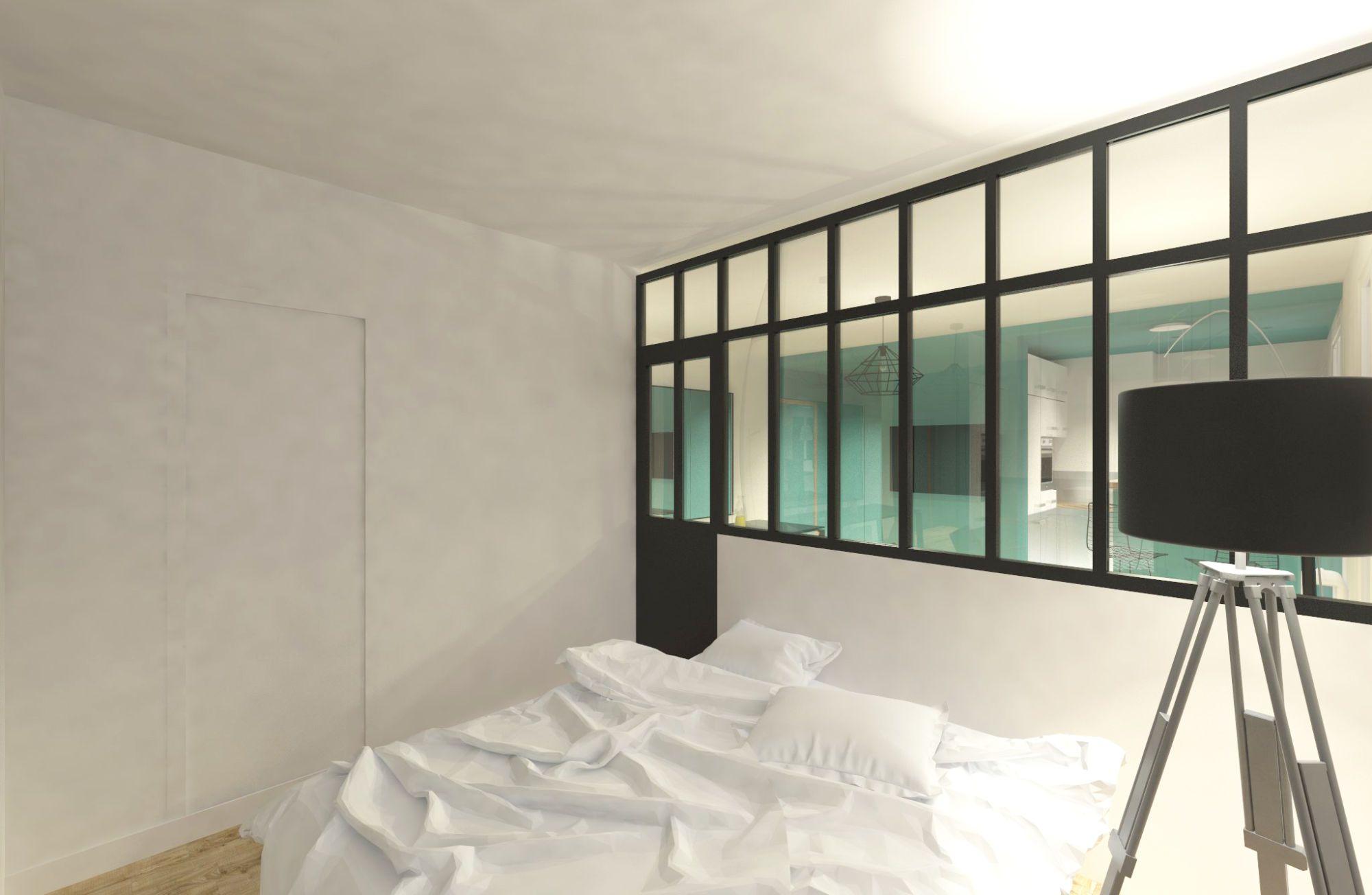 Perspective de la chambre et de la verrière