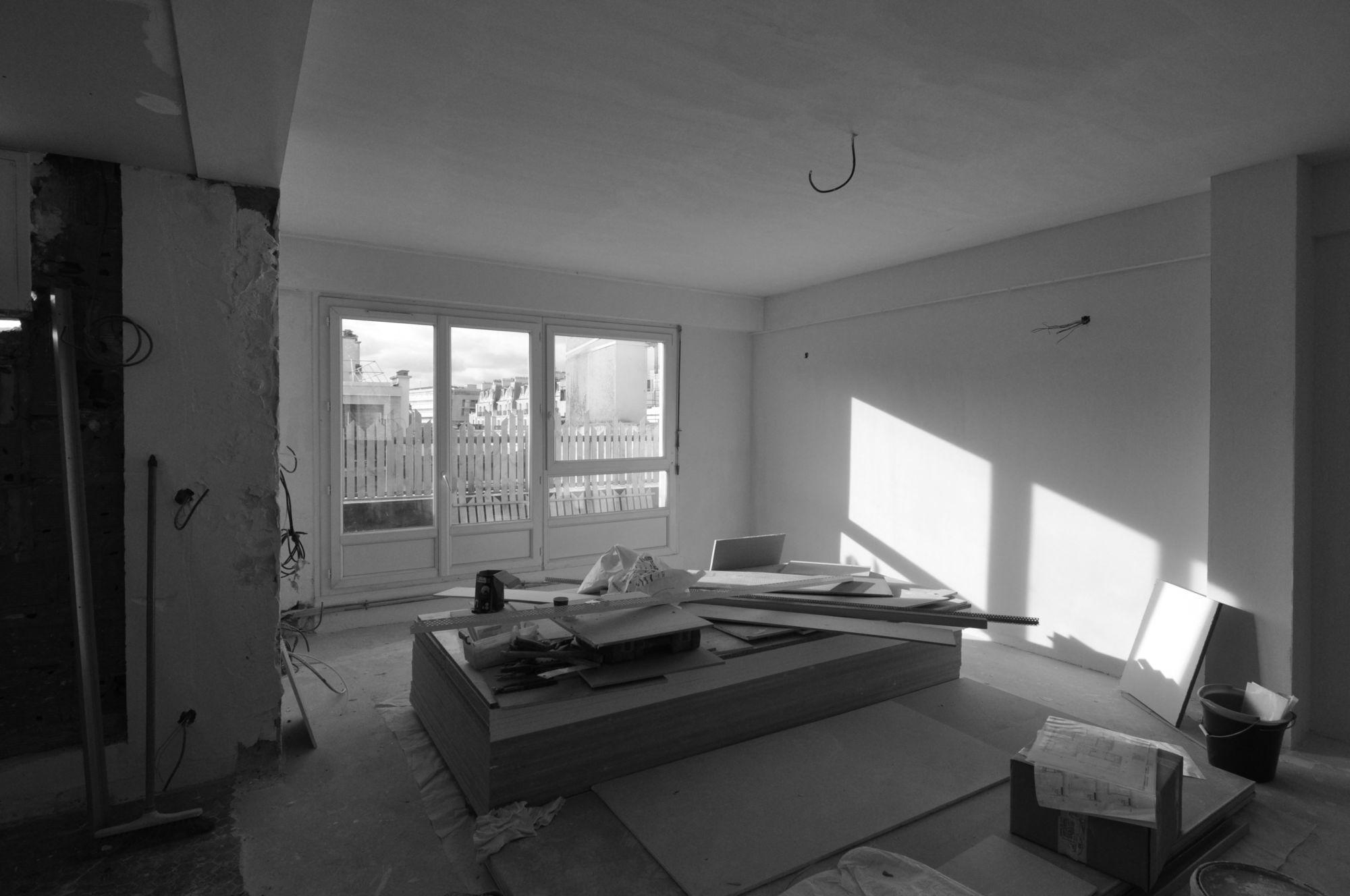 Chantier, installation des baies vitrées