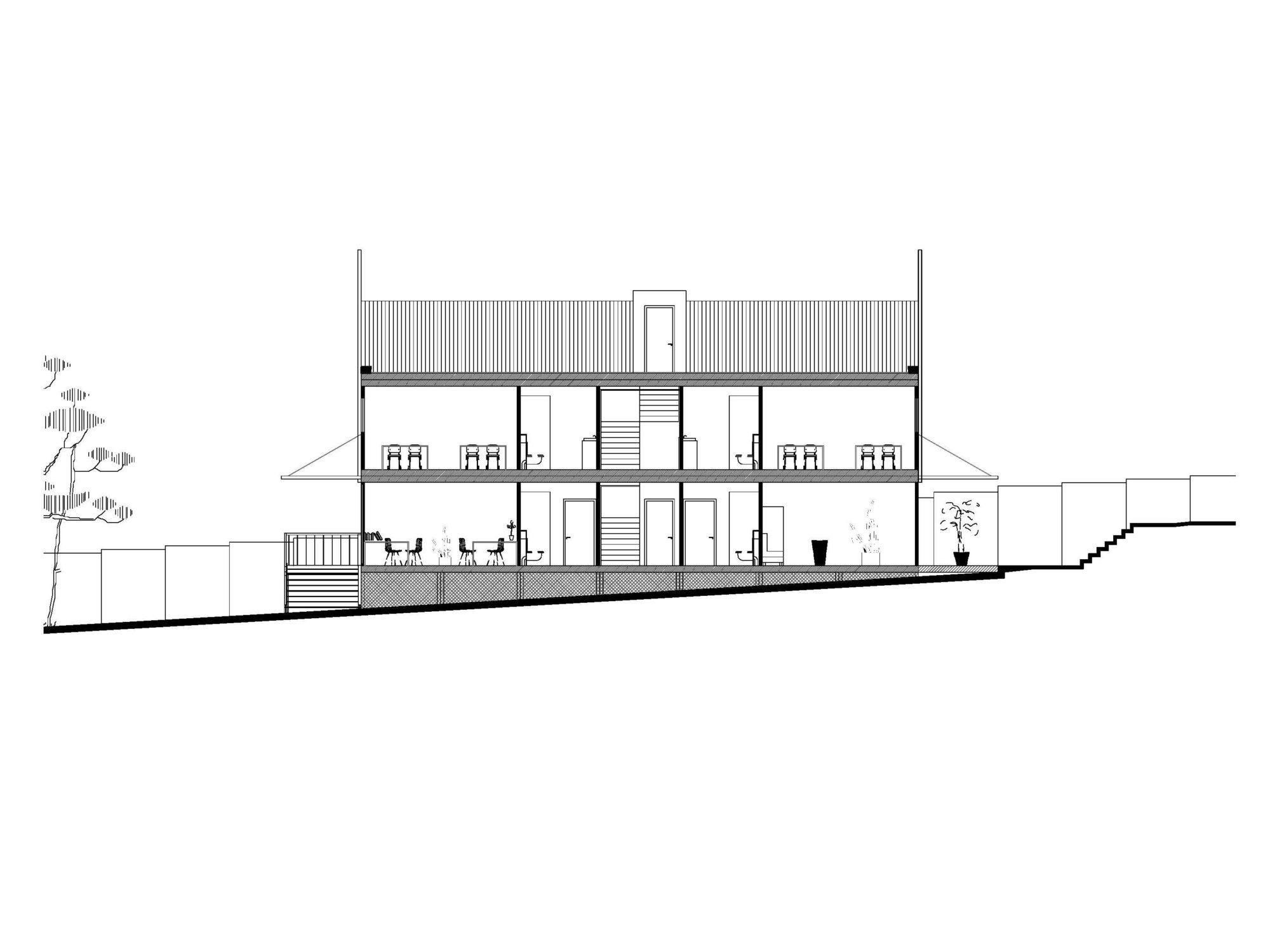 Coupe transversale du bâtiment