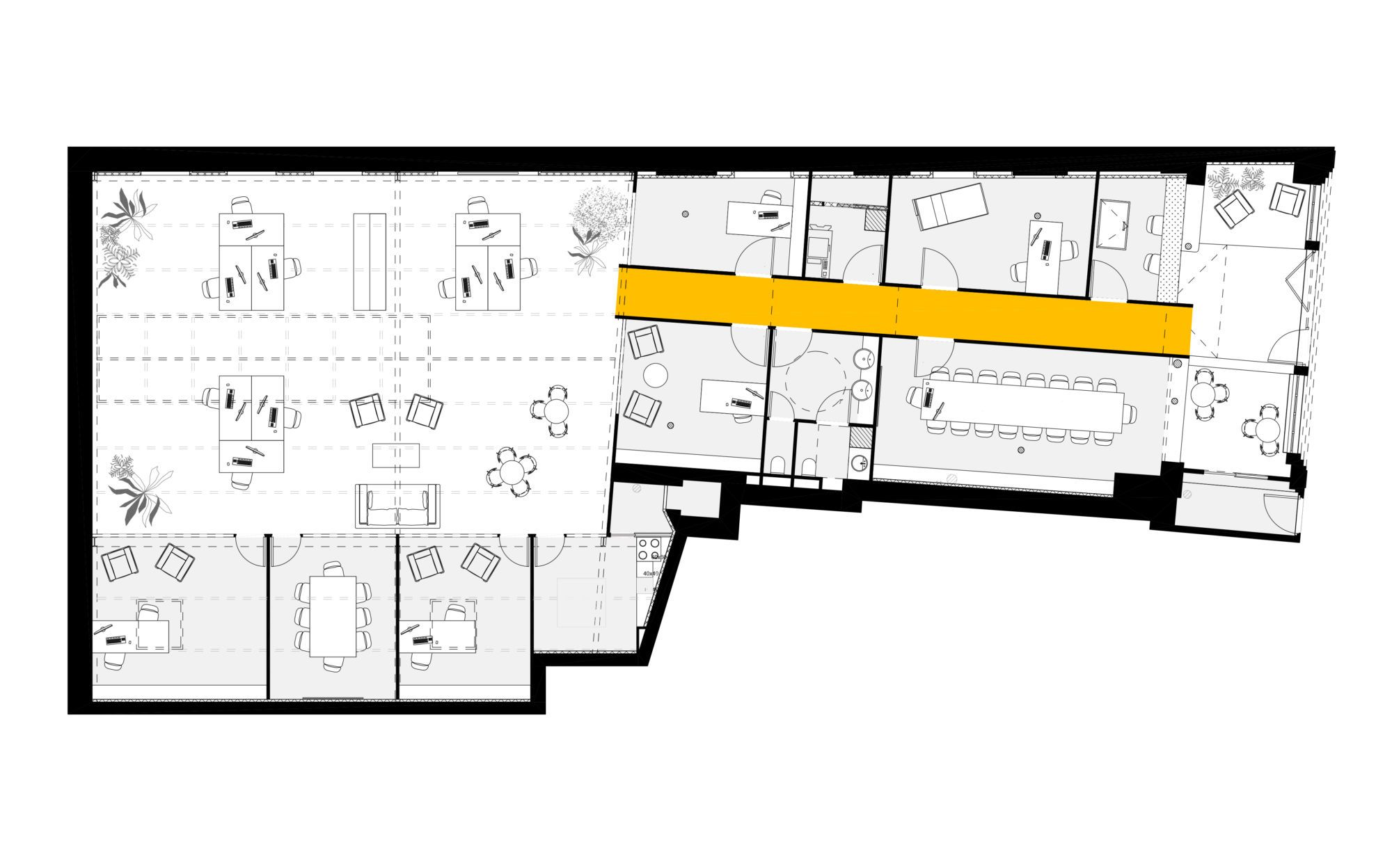 Plan de l'ensemble de l'aménagement du bâtiment