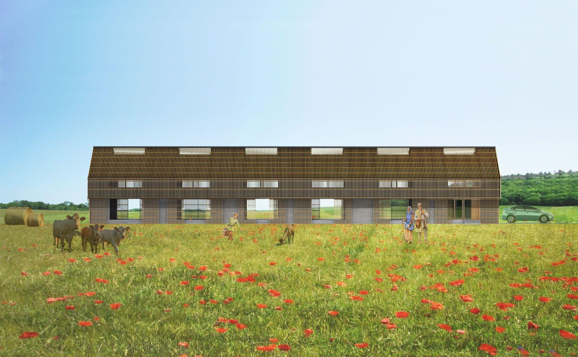 Perspective hangar agricole, bardage bois, 3D, graphisme