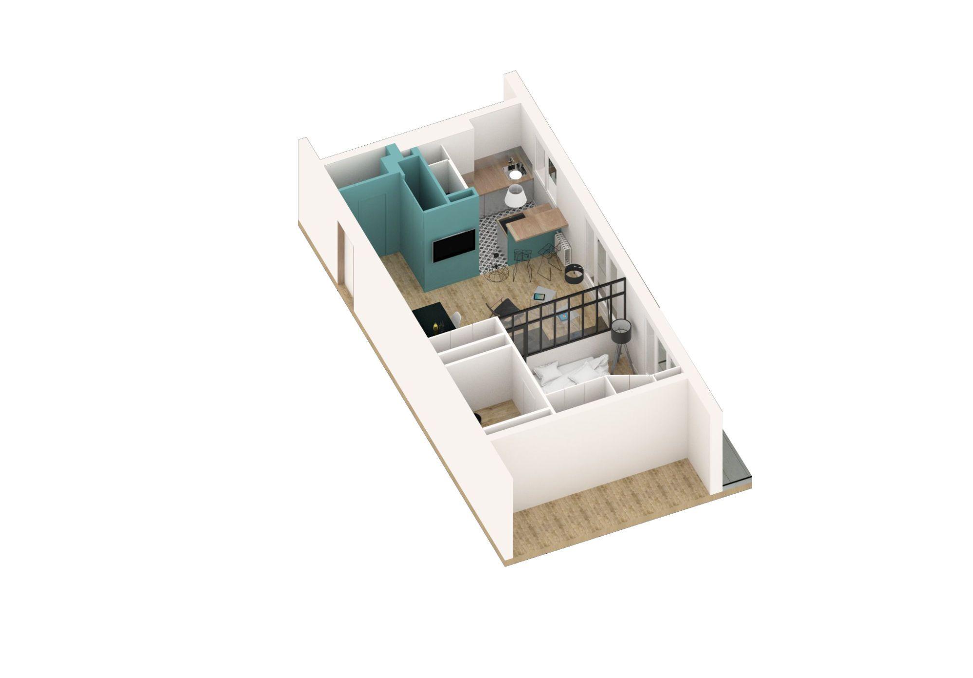 Maquette montant l'aménagement de l'appartement et particulièrement la pièce à vivre