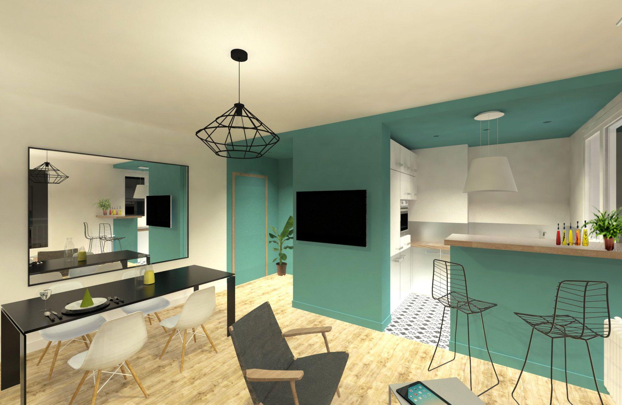 Perspective du salon et aménagement des espace cuisine et salle à manger