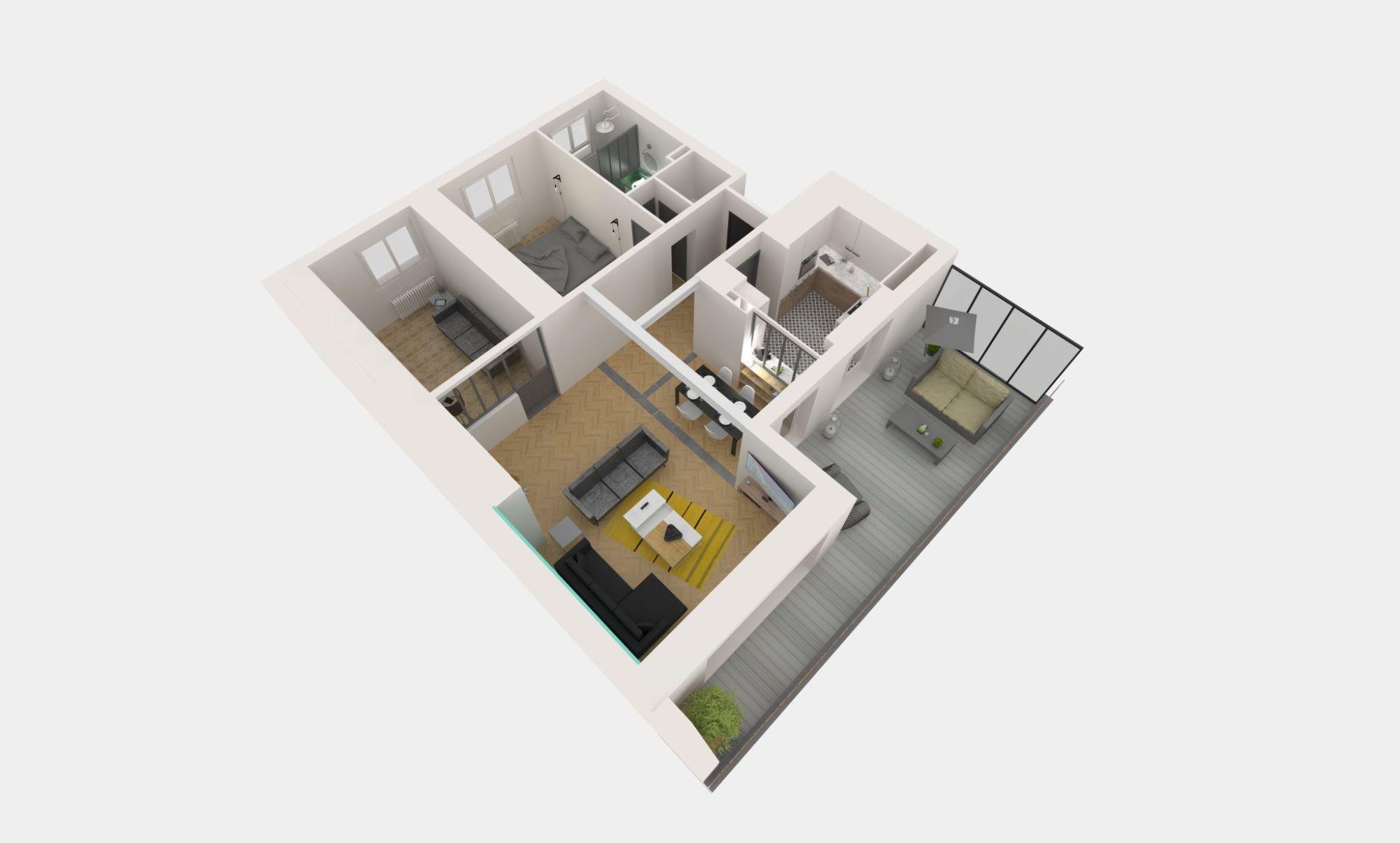 Maquette de l'aménagement de l'appartement