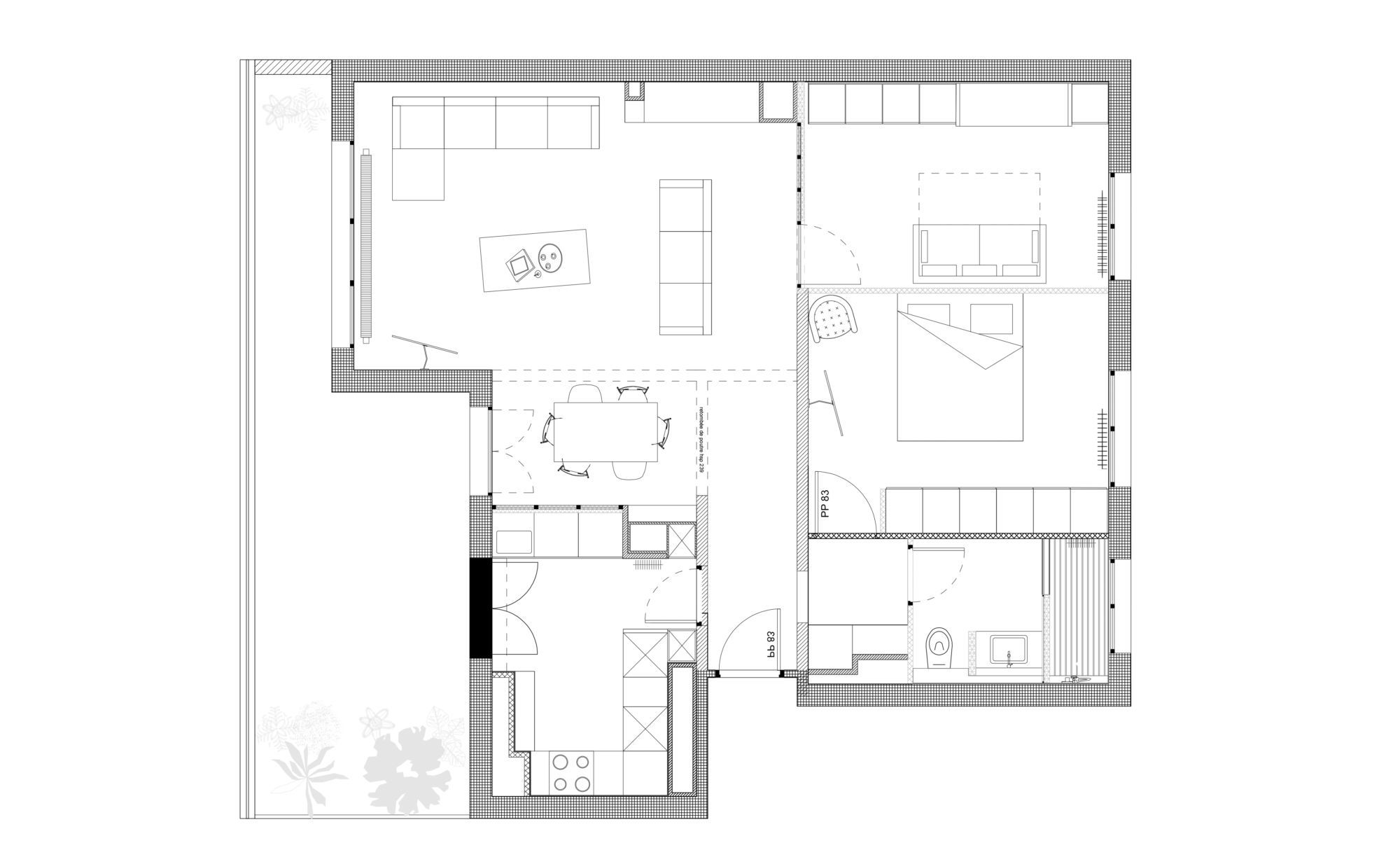 Plan de la restructuration de l'appartement