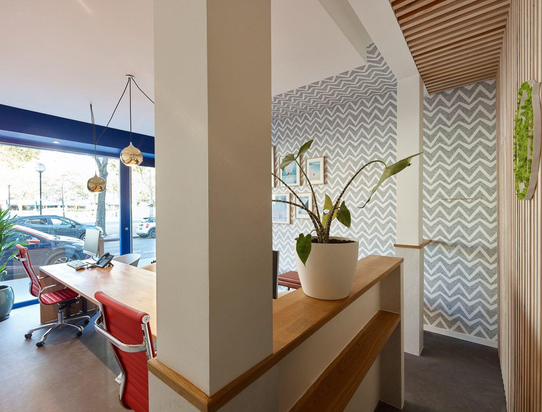 Salle principale, bureaux, salle d'attente, papier peint, luminaires, plantes