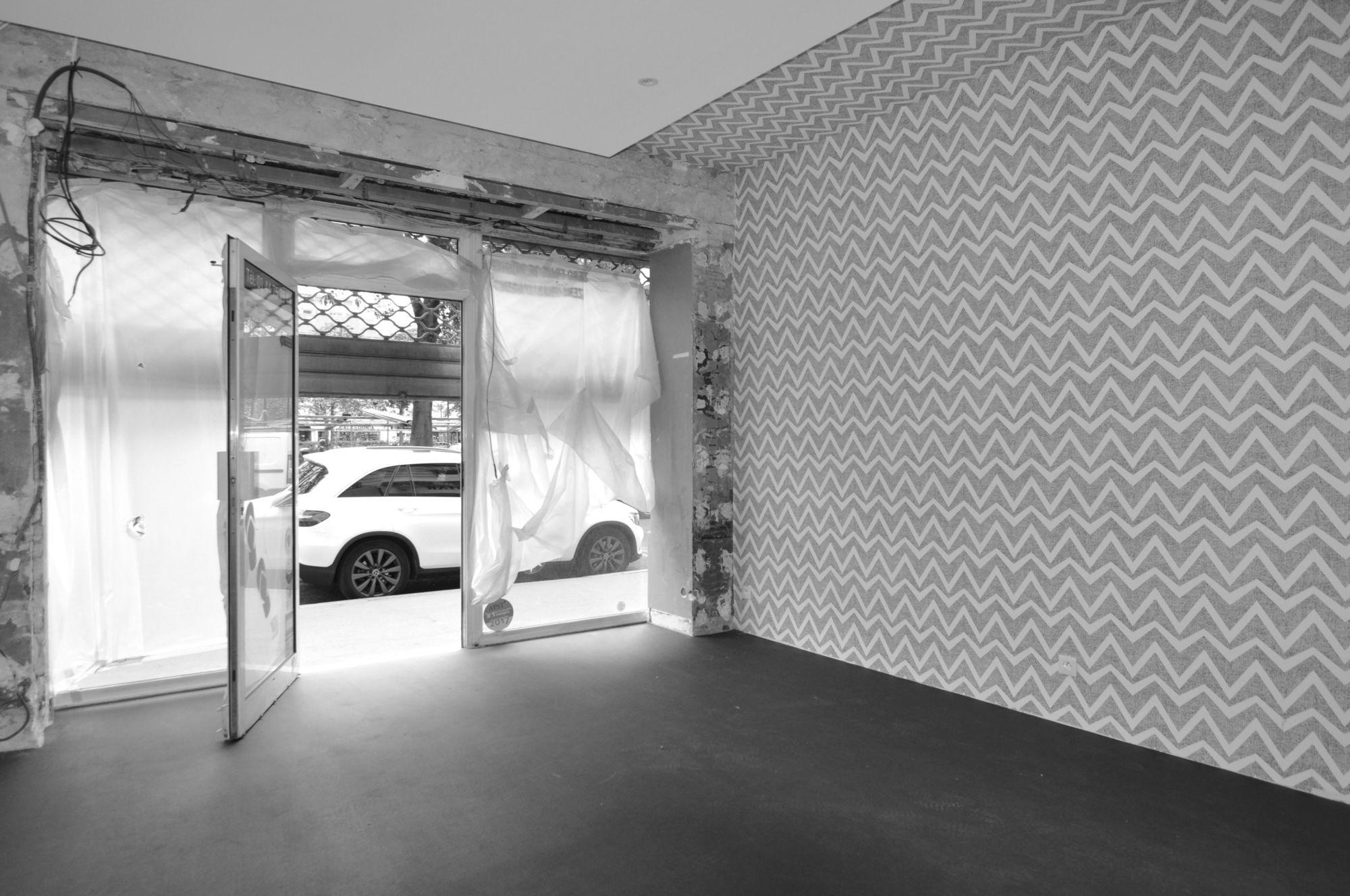 Chantier, papier peint, sol, salle des pas perdus