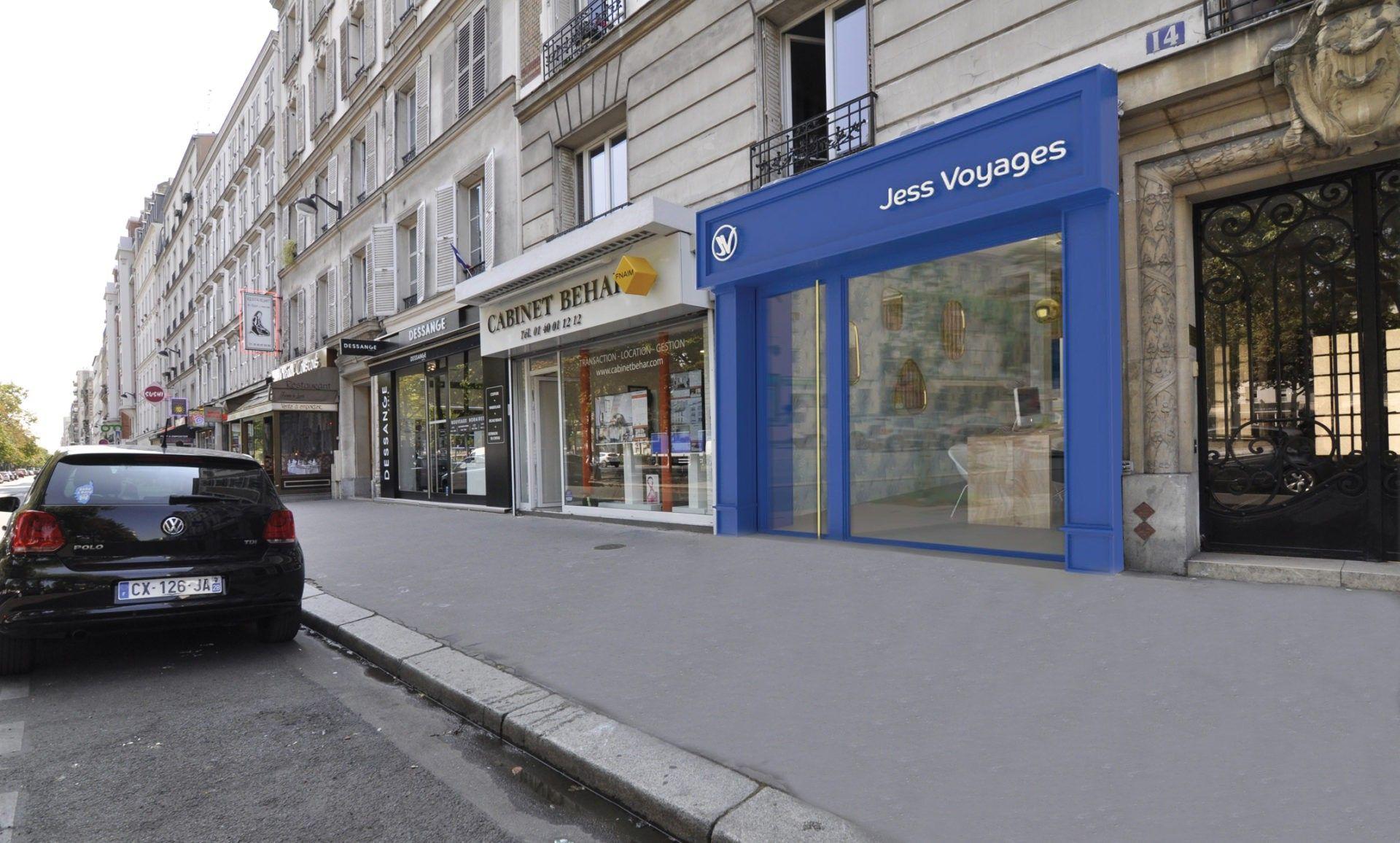 Perspective, façade, agence de voyage